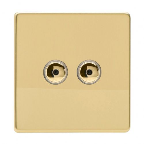 Varilight IJDVI102S Screwless Polished Brass 2 Gang 1-Way Remote/Touch Master LED Dimmer 0-100W